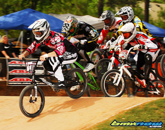 Jason LaRev leads the Pro main on Saturday at the 2010 ABA Dixieland Nationals.  Photo by Mike Carruth, bmxnow.com