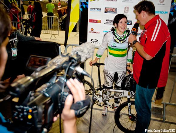 Caroline Buchanan rides her Speedco to a win in Randaberg, Norway