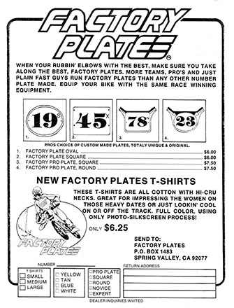 Bob Haro's first sell sheet for Factory Plates, 1977
