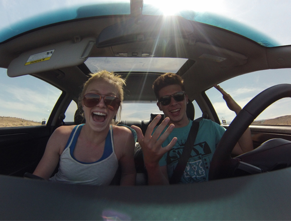 Brooke Crain and Bryce Betts back in the car 2014 Great Salt Lake Nationals