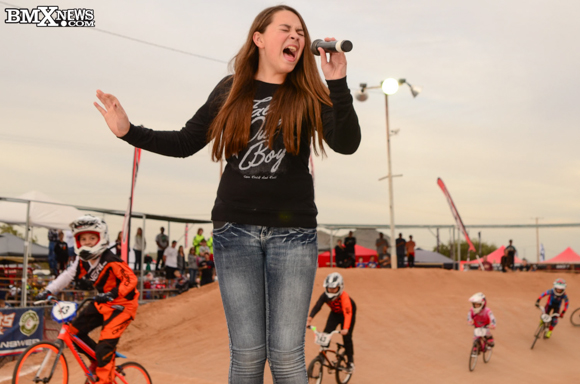 Summer Welsh sings at the 2015 USA BMX Winter Nationals