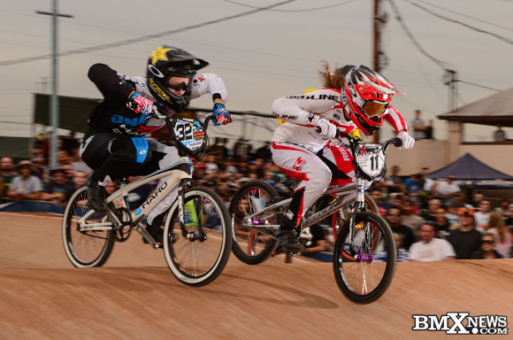 Alise Post and Brooke Crain at the 2015 USA BMX Winter Nationals