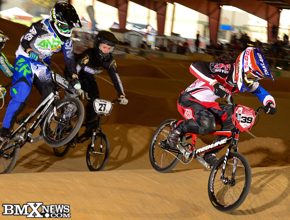 Amanda Carr and Dani George into turn one at the 2015 USA BMX Super Nationals