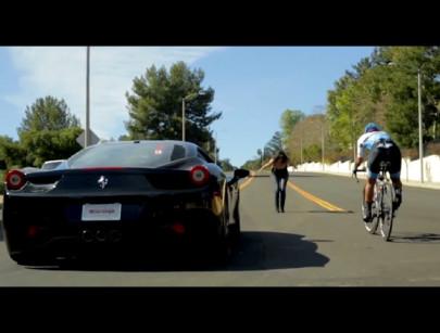 Road Biker Races Ferrari against LA Traffic