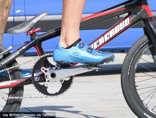 A BMX racer using a clipless pedal